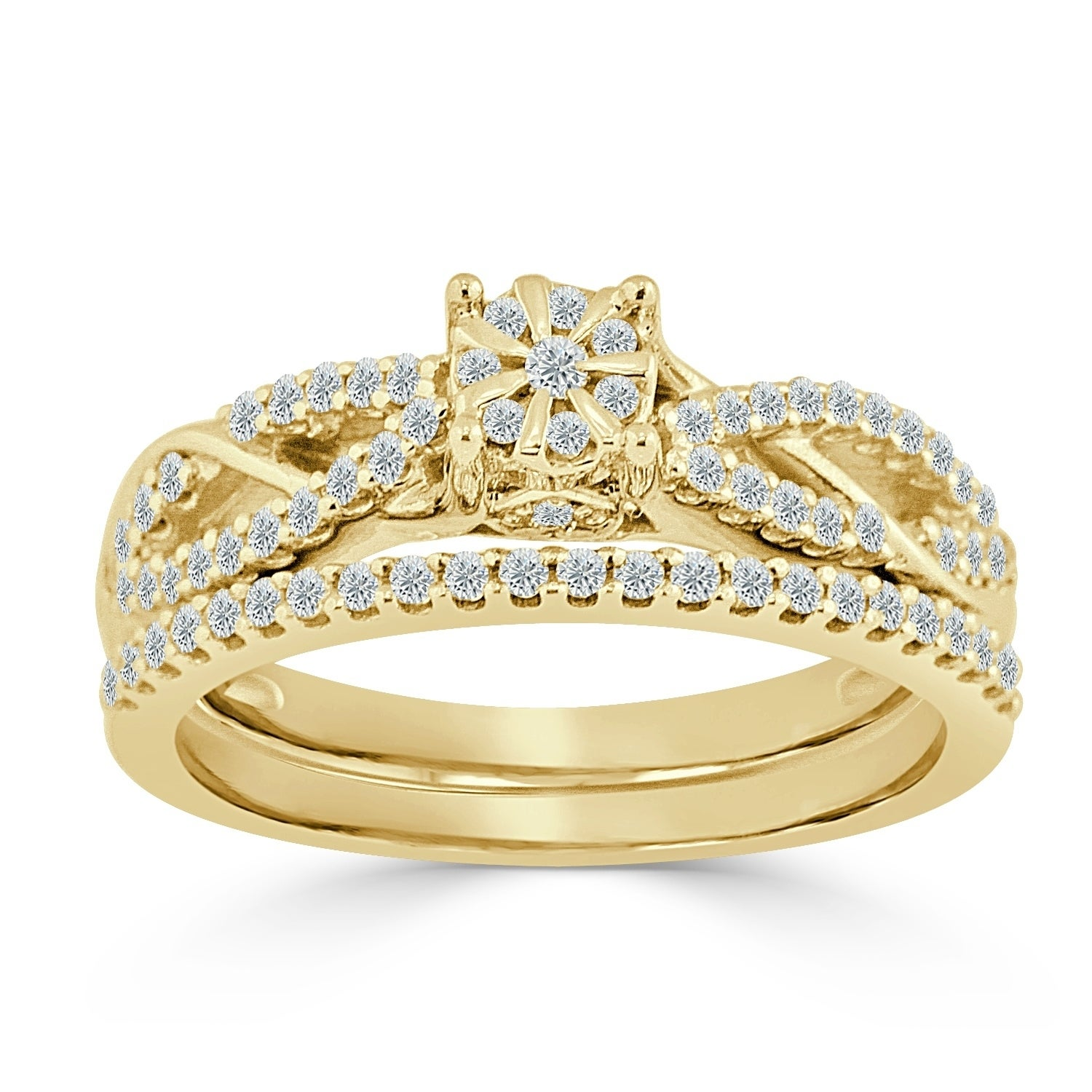 14k Gold Round Infinity Inspired 5 8ct Tdw Diamond Engagement Ring Set By Auriya On Free Shipping Today 17632583