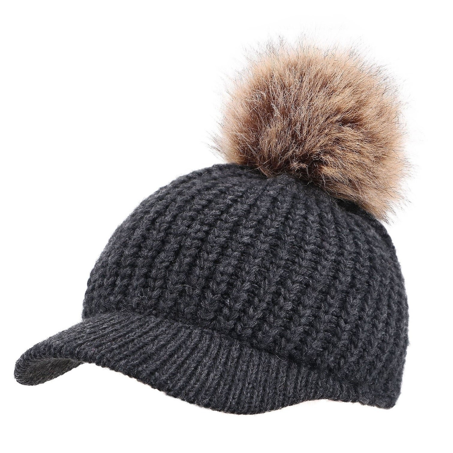 Shop Arctic Paw Cable Knit Beanie with Faux Fur Pompom and Brim ... 38119c6c176