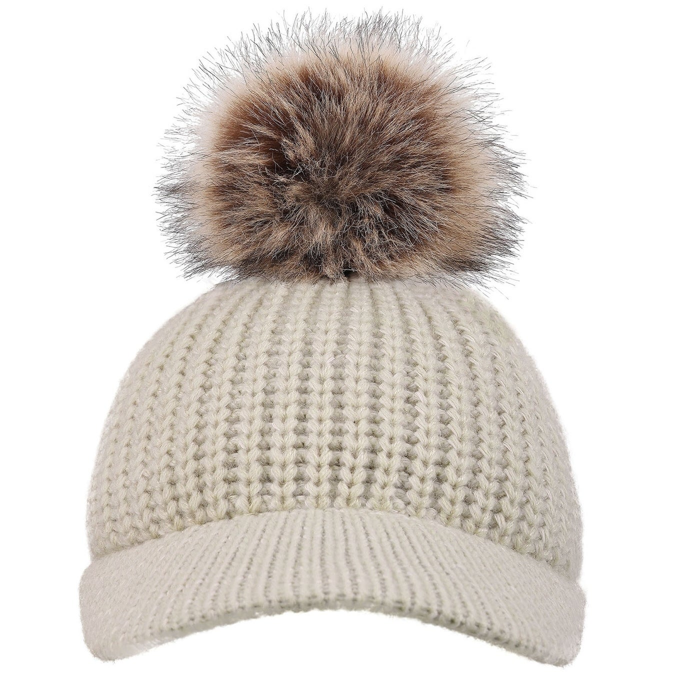 59cb4a2e55df7e Shop Arctic Paw Cable Knit Beanie with Faux Fur Pompom and Brim Shade - On  Sale - Free Shipping On Orders Over $45 - Overstock - 17638882