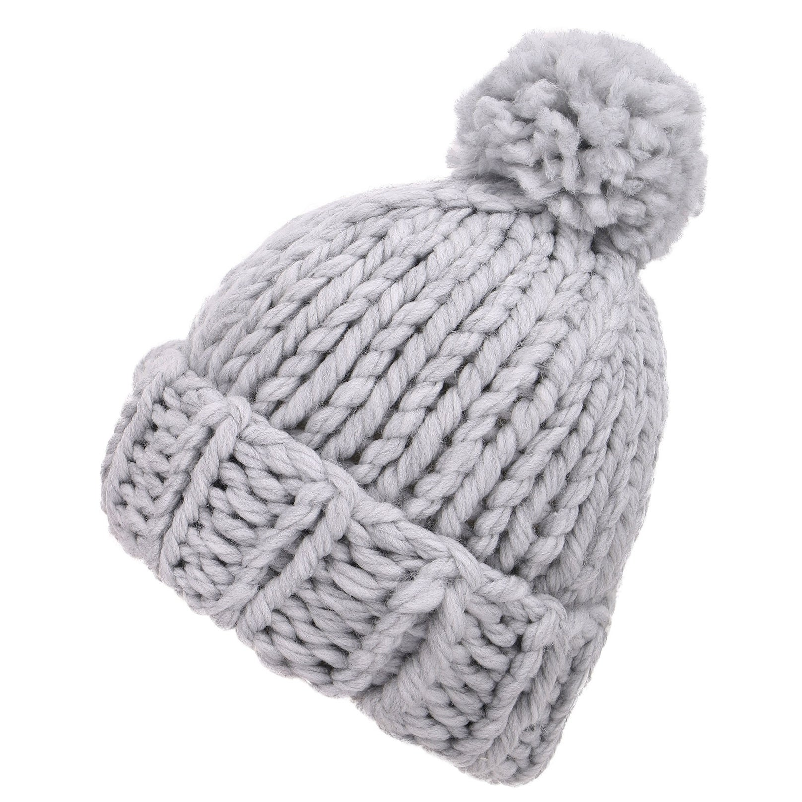 77eac7879b899 Shop Arctic Paw Women s Super Soft Chunky Cable Knit Pompom Beanie ...