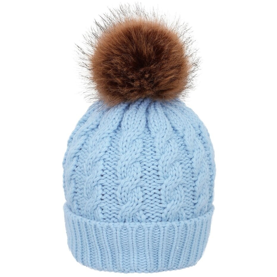 2b263f05f6b Shop Simplicity Winter Hand Knit Beanie Hat with Faux Fur Pompoms - Free  Shipping On Orders Over  45 - Overstock - 17638926