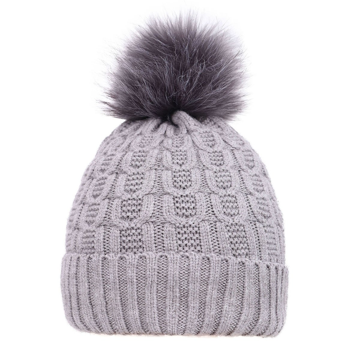 Shop Arctic Paw Sherpa Lined Knit Beanie with Faux Fur Pompom - On ... c609b58968b
