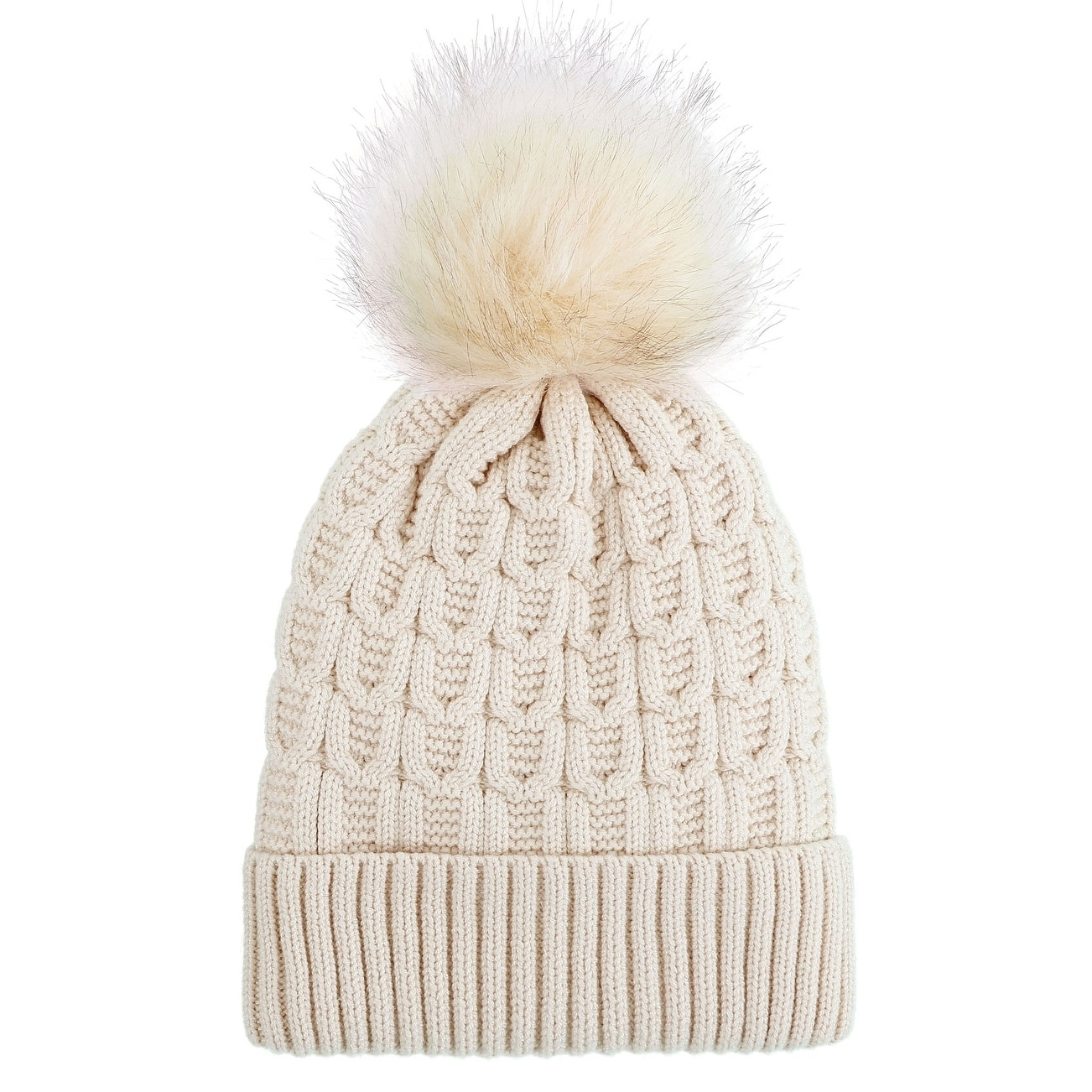 5047bd59f8838 Shop Arctic Paw Sherpa Lined Knit Beanie with Faux Fur Pompom - On Sale -  Ships To Canada - Overstock - 17638928