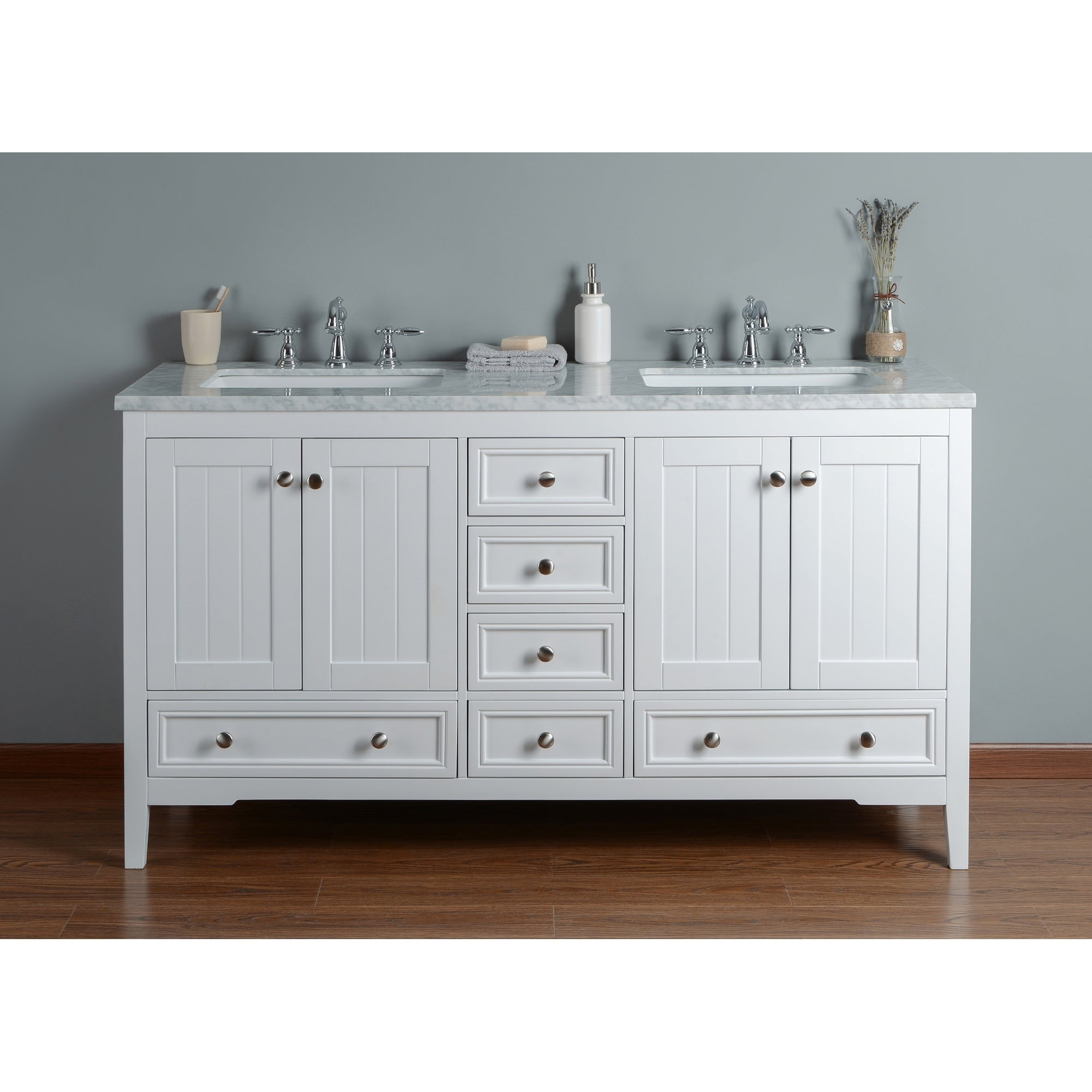 Shop Stufurhome New Yorker 60 Inches White Double Sink Bathroom