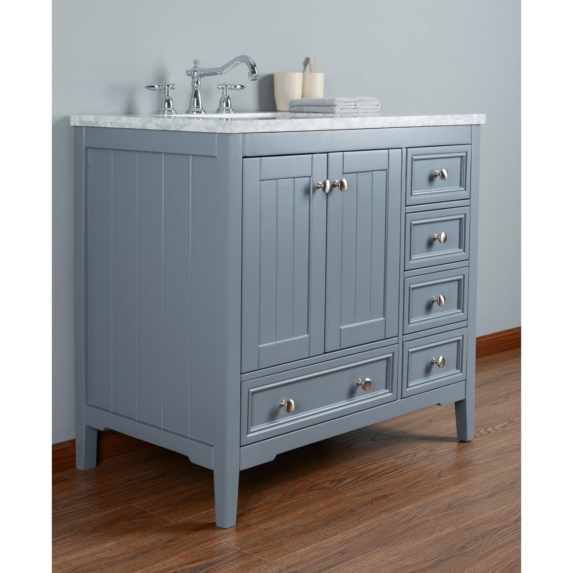 Shop Stufurhome New Yorker 36 Inches Grey Single Sink Bathroom ...