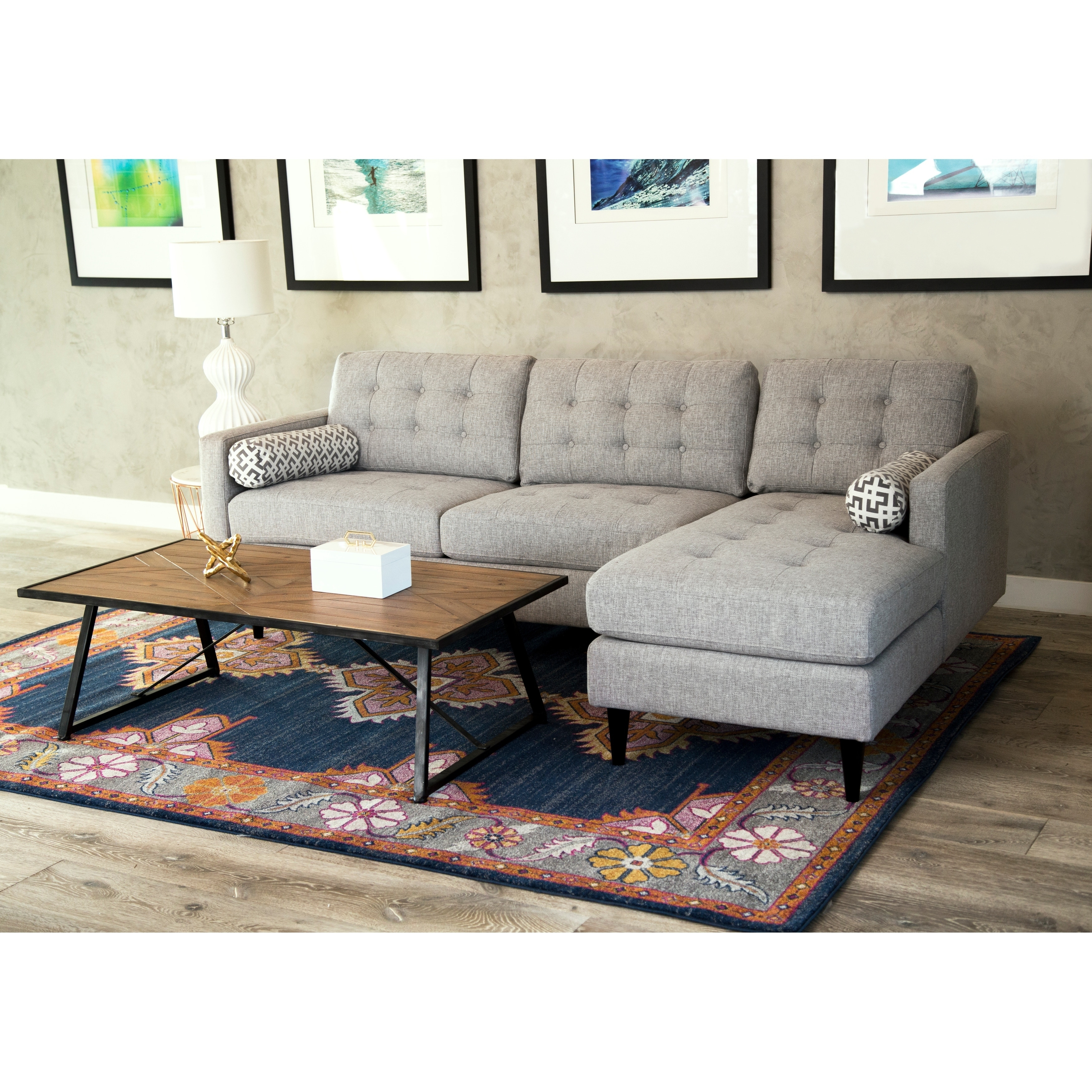 Abbyson aiden grey mid century tufted sectional