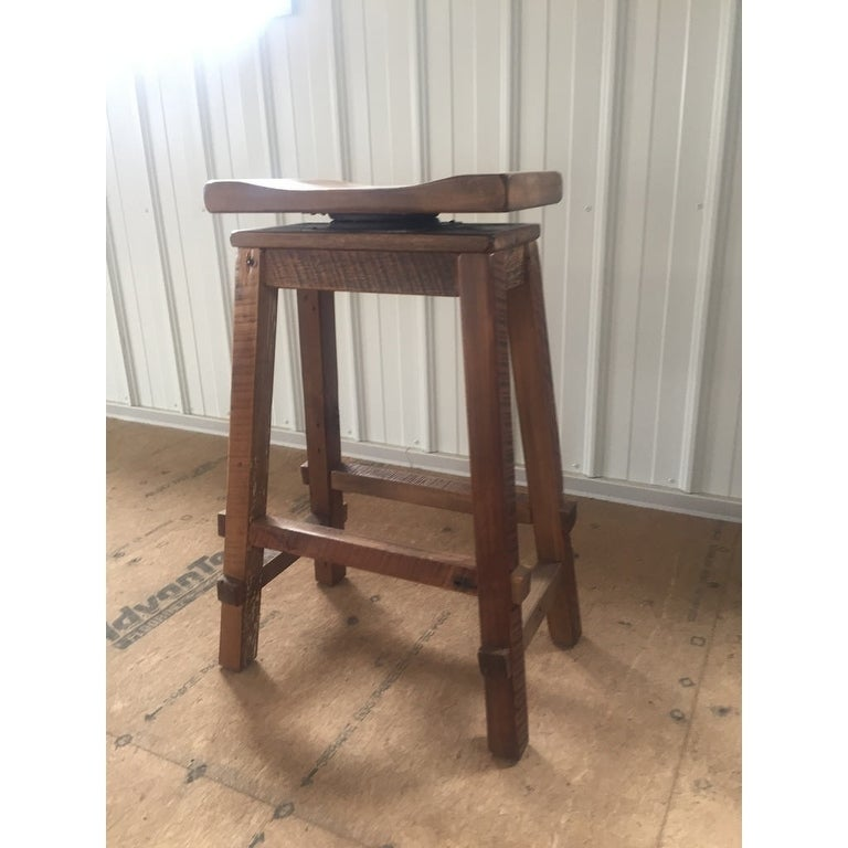Reclaimed Barn Wood Bar Height Swivel Saddle Stool Clear Varnish Free Shipping Today 17653731