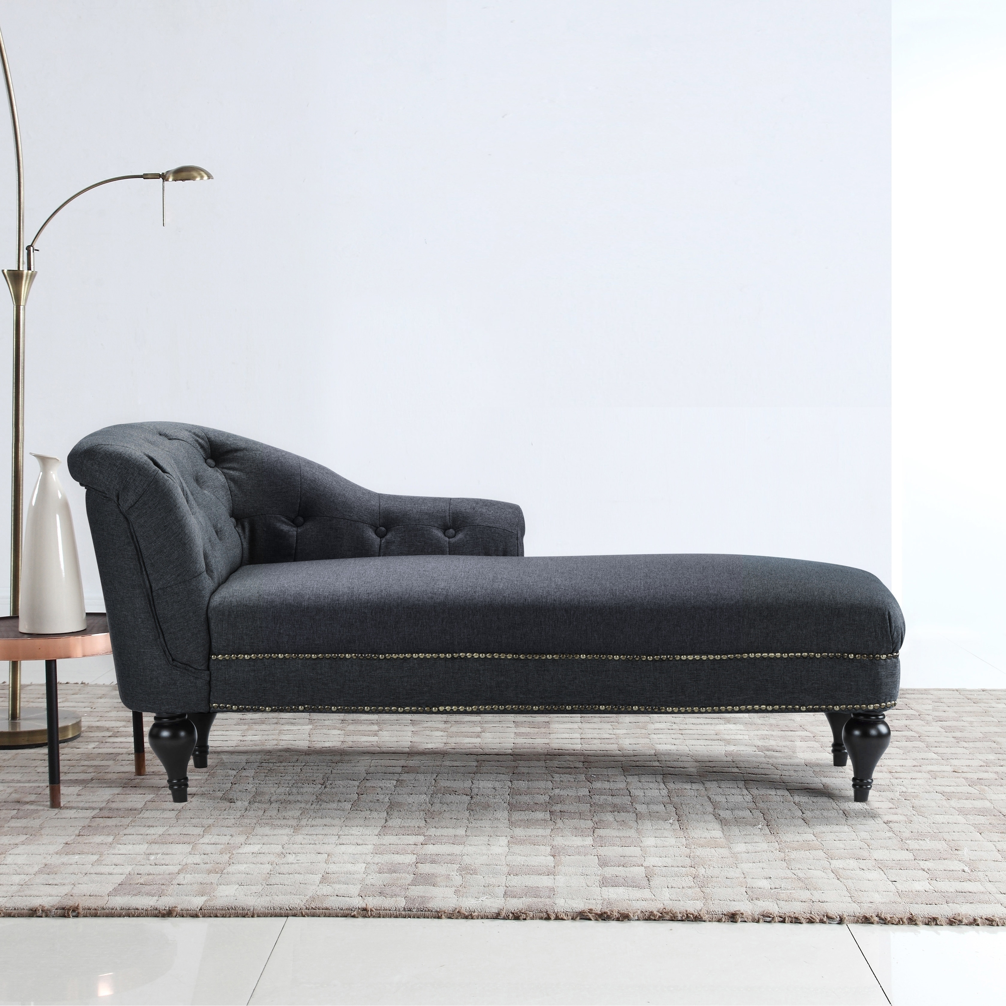 Shop elegant linen living room chaise lounge nailhead button accents free shipping today overstock com 17653762