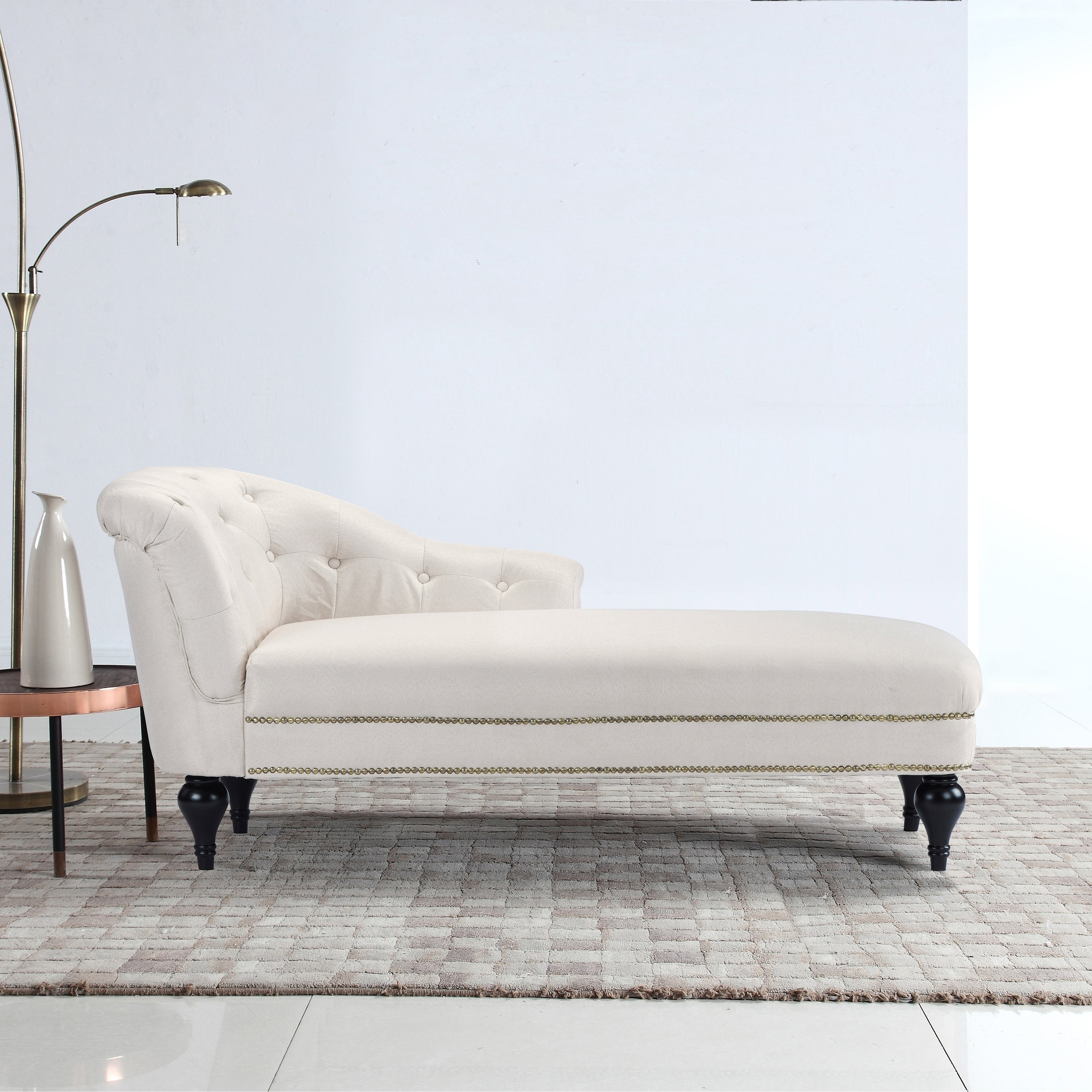 Elegant Linen Living Room Chaise Lounge, Nailhead Button Accents ...