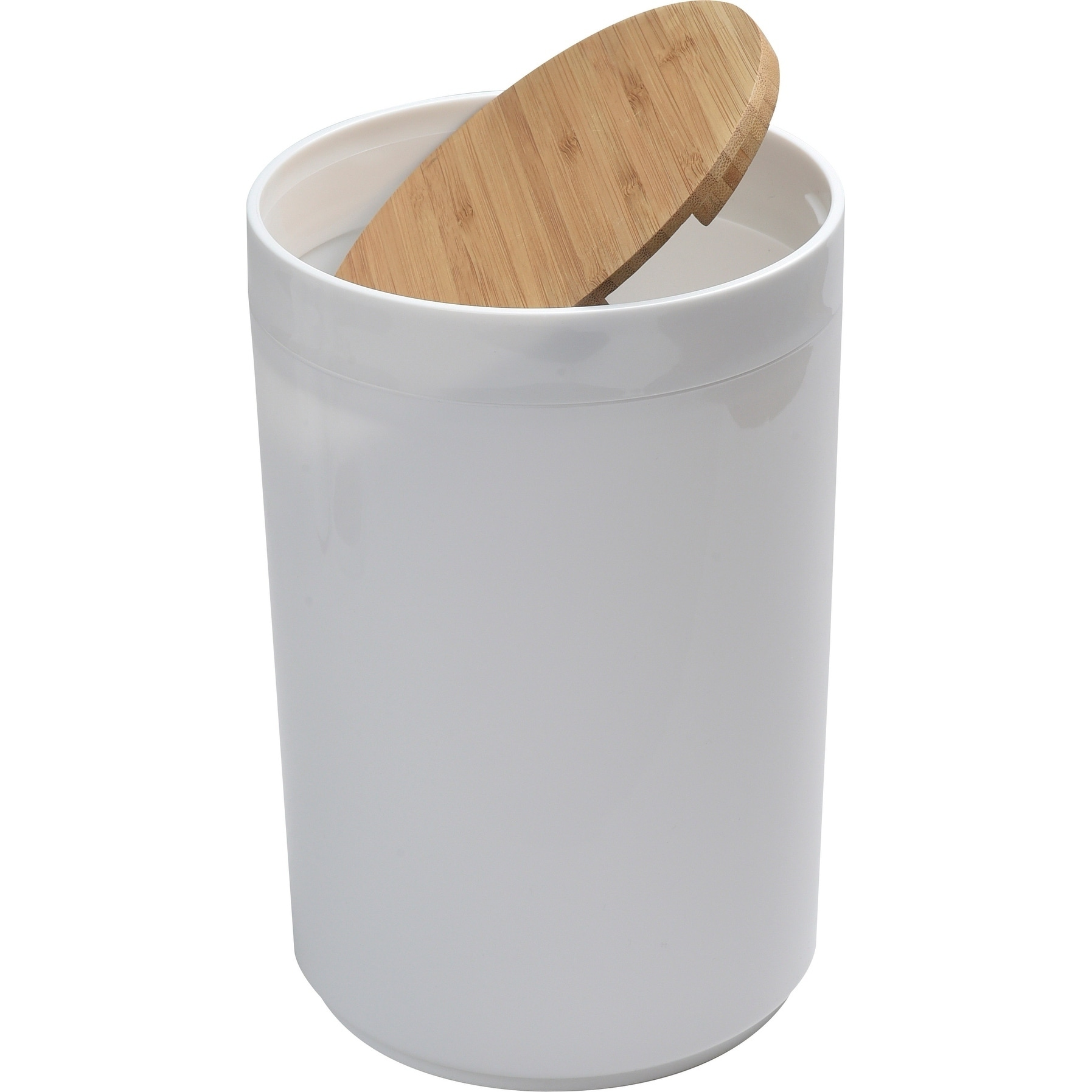 white trash can. Shop Evideco White Trashcan Padang Waste Bin Bamboo Top Swing - Ships To Canada Overstock.ca 17653816 Trash Can