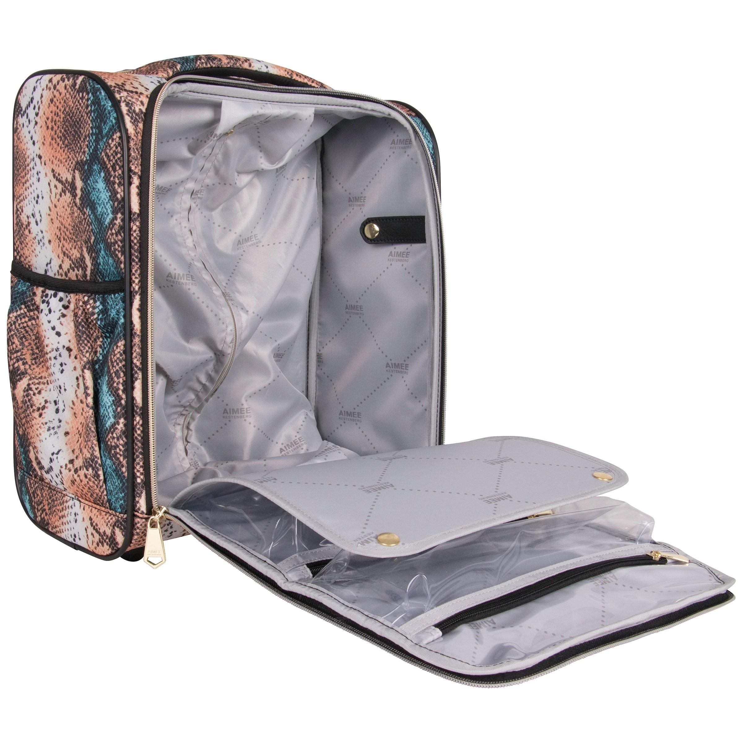 Aimee Kestenberg Sydney 15-inch Marine Python Printed Underseat Rolling  Carry On Tote Bag