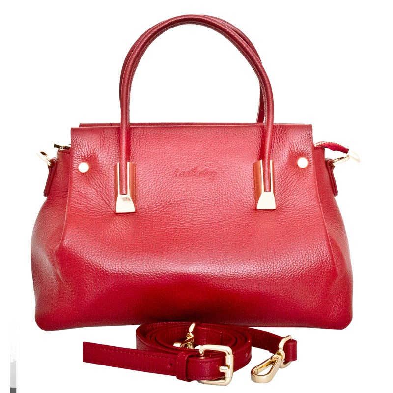 698867103f12 Leatherbay Bellano Dark Red Leather Shoulder Handbag