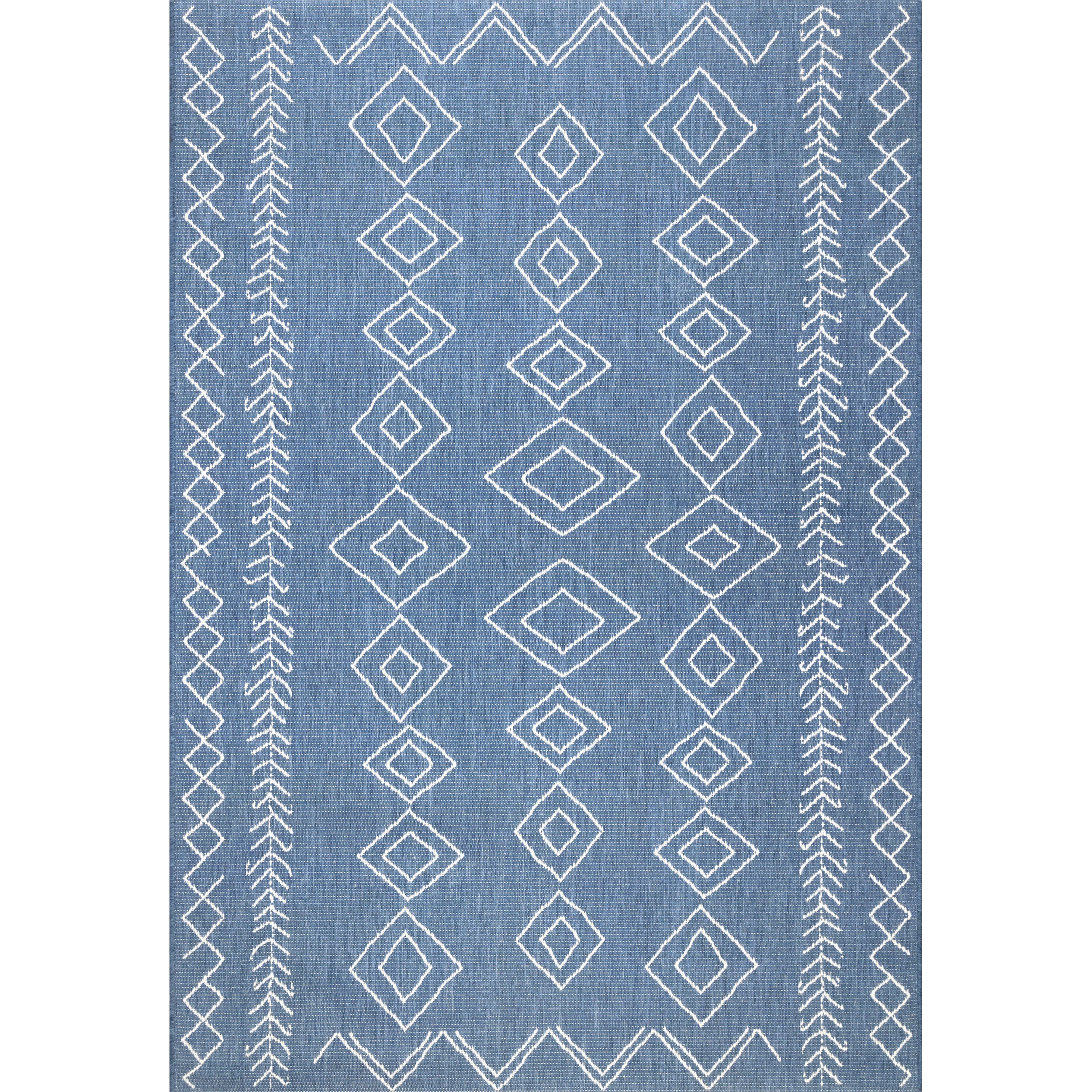 nuLOOM Indoor Outdoor Moroccan Inspired Diamonds Blue Rug 6 3 x 9