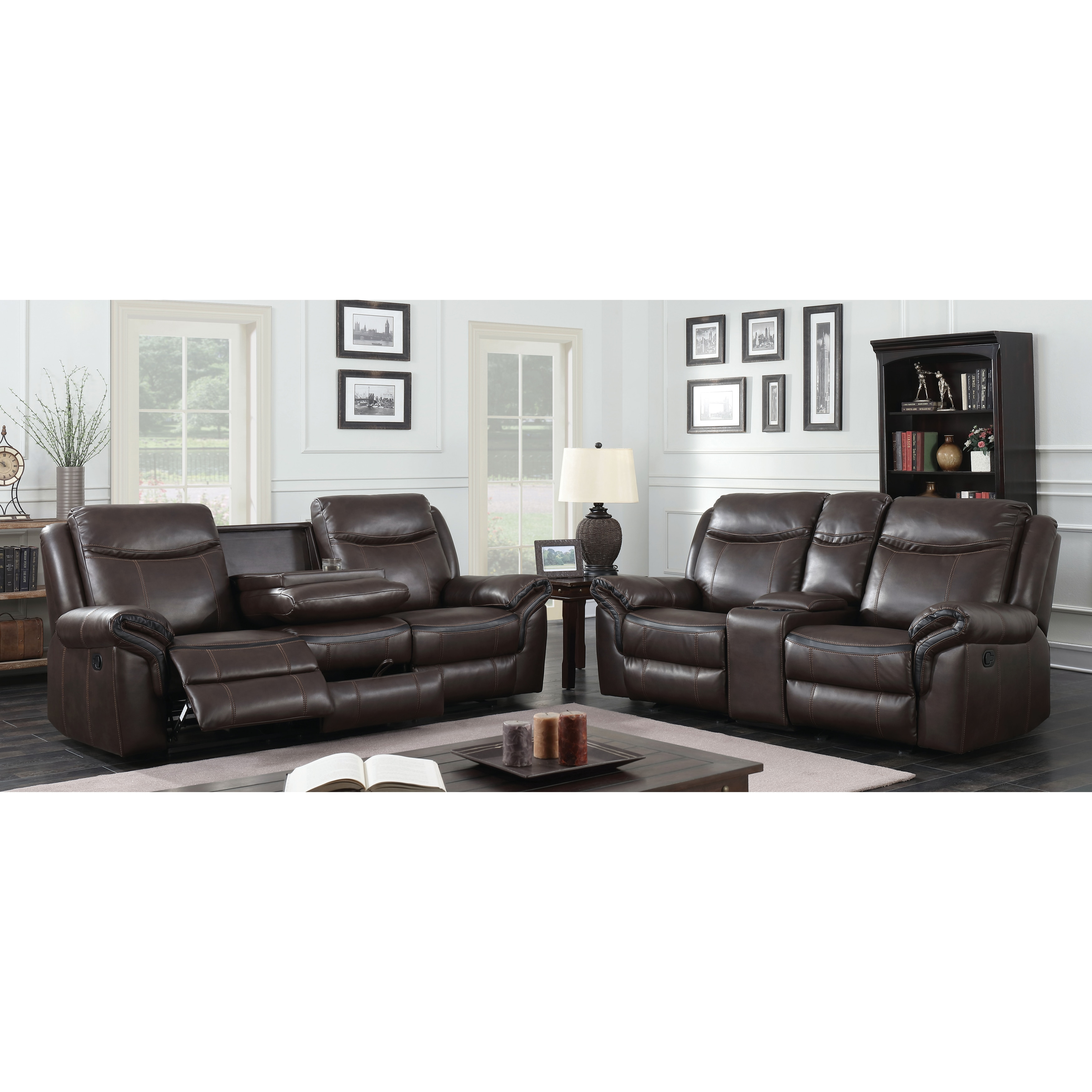 Furniture of America Jefferson Transitional 2-piece Brown Leather ...
