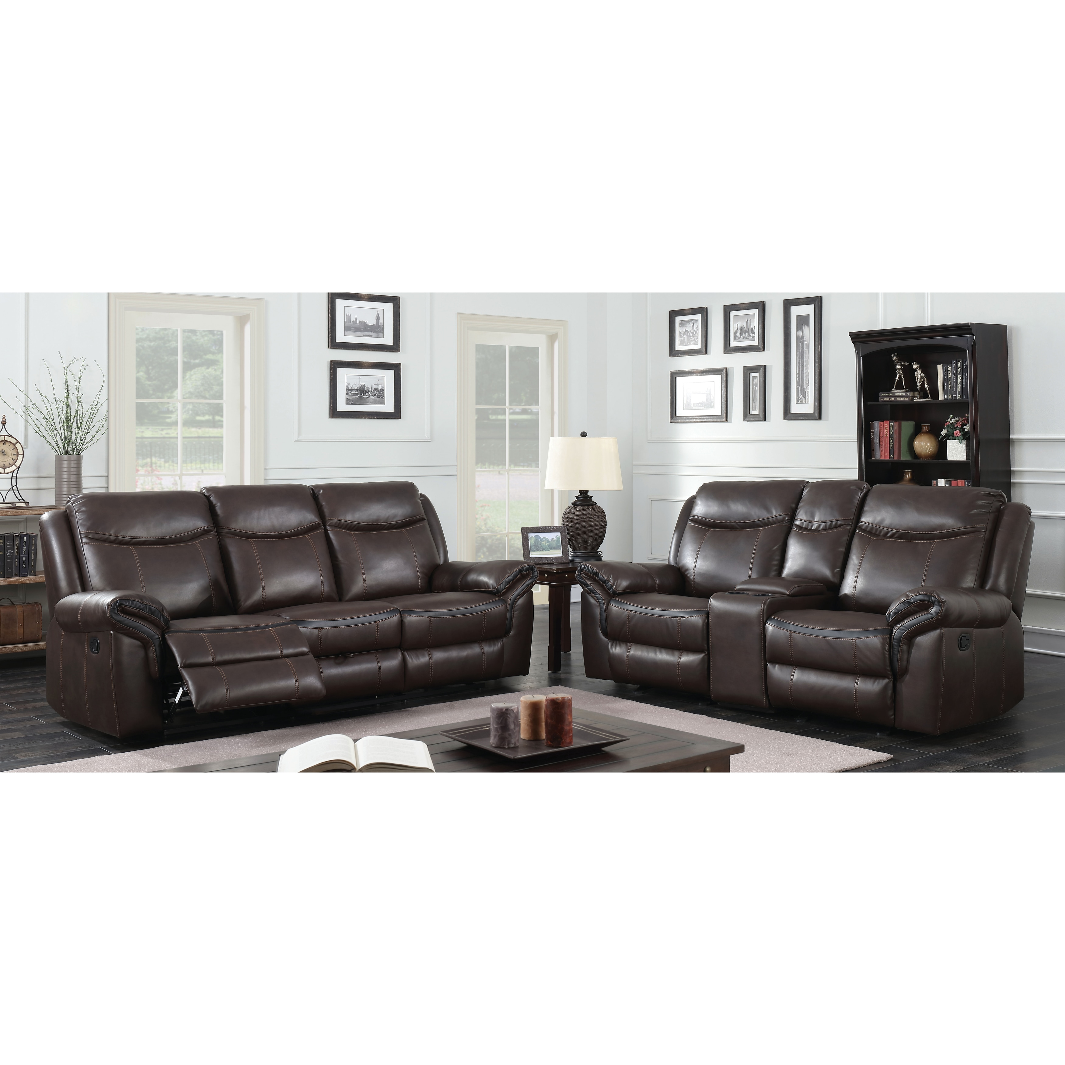 Furniture of America Jefferson Transitional 3-piece Brown Leather ...