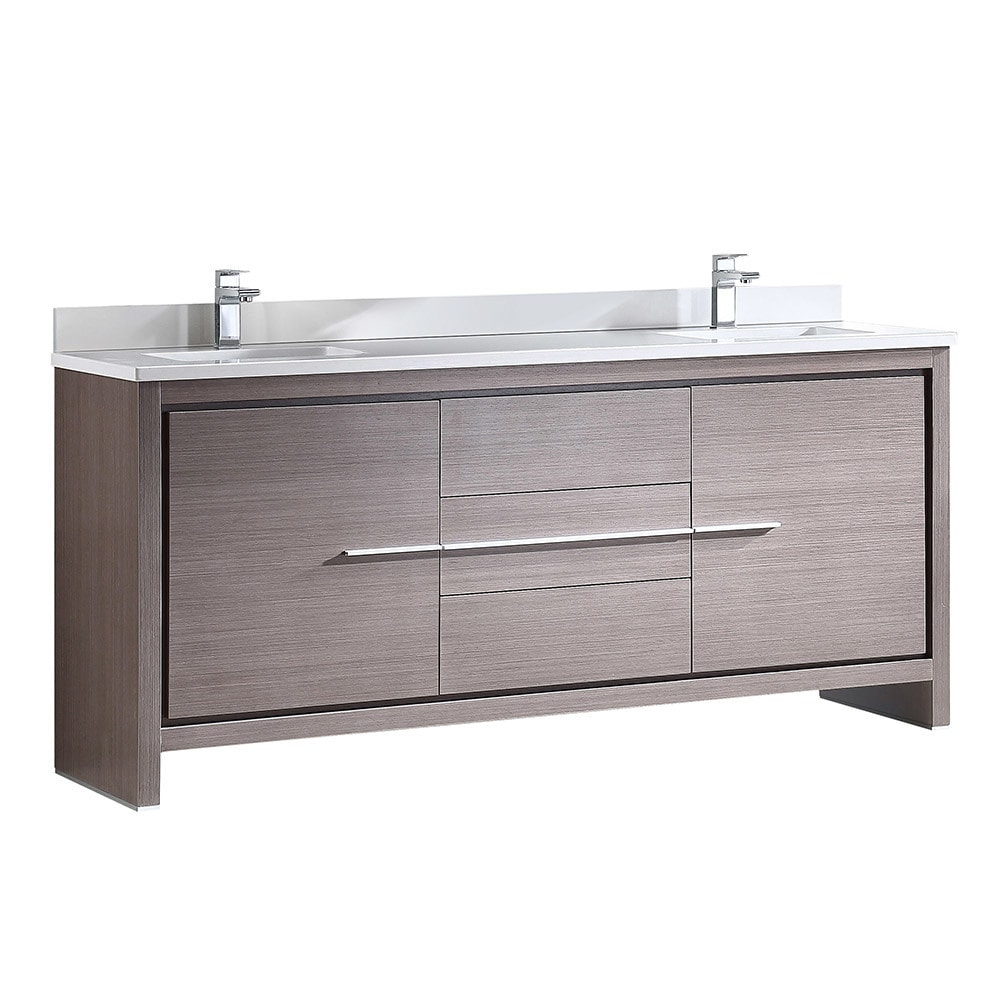 Fresca Allier 72 Inch Grey Oak Modern Double Sink Bathroom Cabinet With Top And Sinks Free Shipping Today 17663594