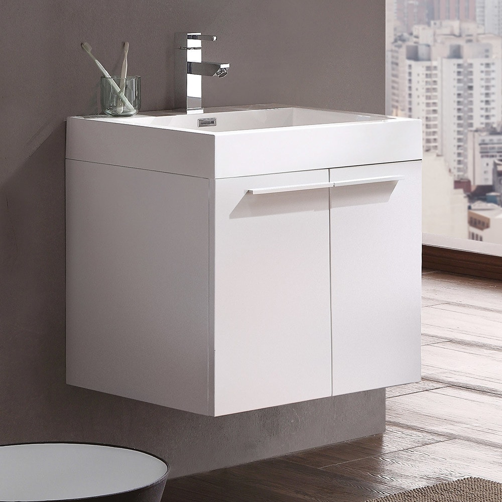 Shop Fresca Alto White Modern Bathroom Cabinet w/ Integrated Sink ...