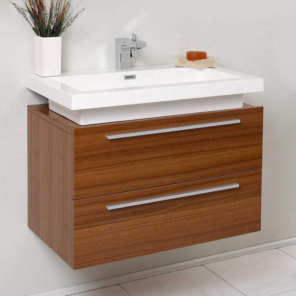 Shop Fresca Medio Teak Modern Bathroom Cabinet W Vessel Sink Free