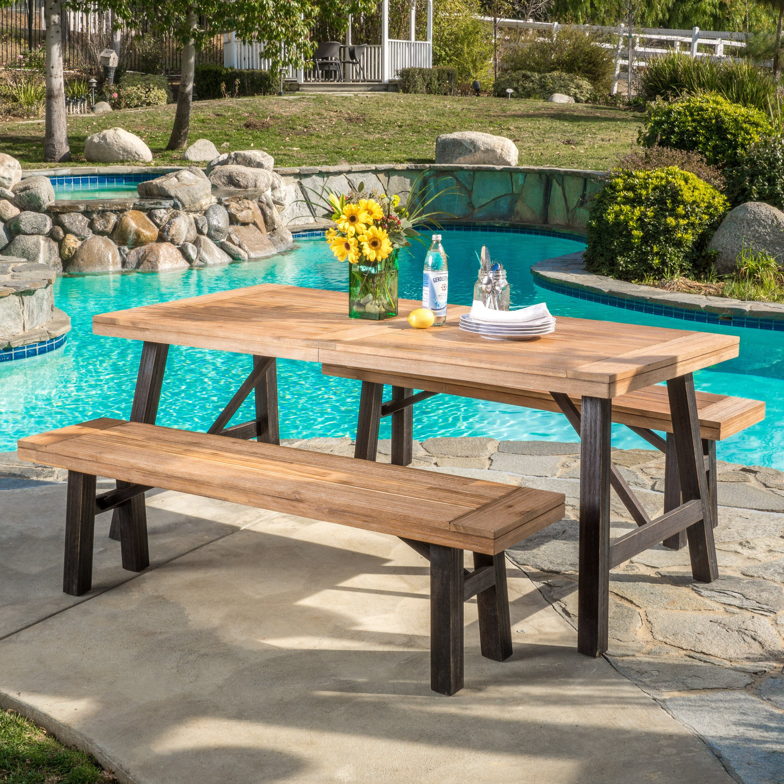 Shop Boracay Outdoor 3 Piece Picnic Dining Set By Christopher Knight