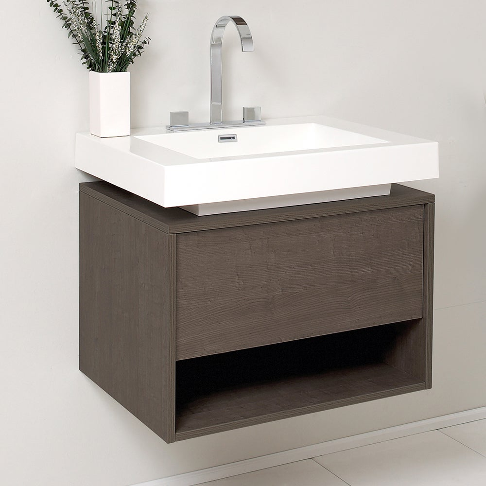 Fresca Potenza Grey Oak Bathroom Cabinet With Vessel Sink Free Shipping Today 23874243