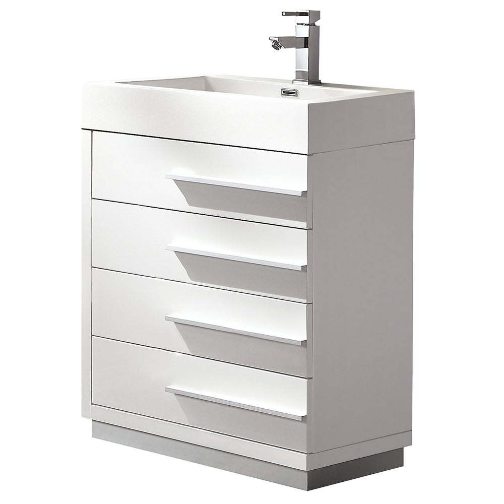 Fresca Livello 24 Inch White Modern Bathroom Cabinet With Integrated Sink