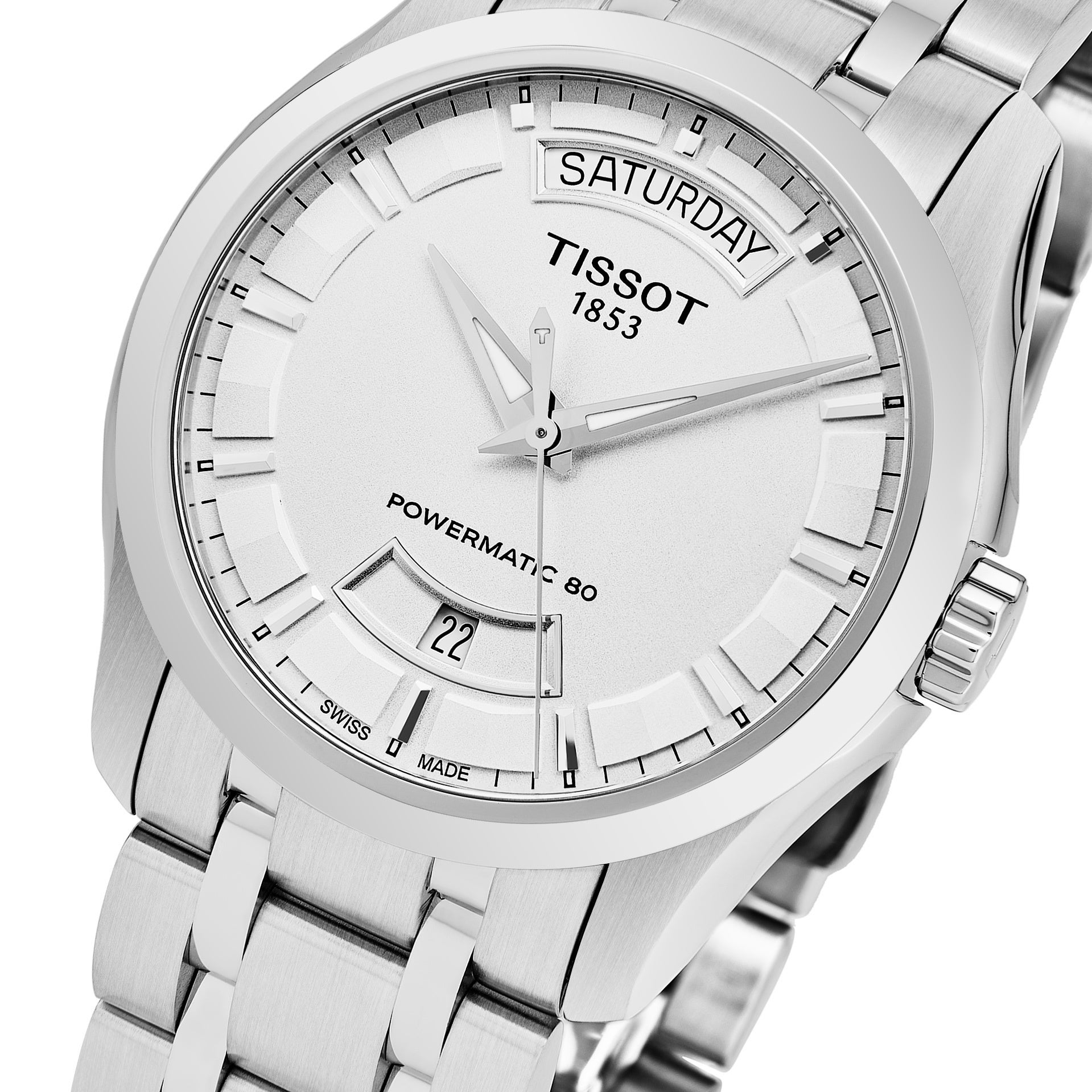 Tissot Men's T035 407 11 031 01 'Couturier' Silver Dial Stainless Steel  Swiss Automatic Watch
