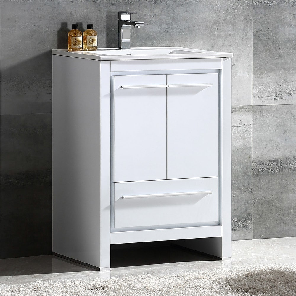 Fresca Allier 24-inch White Modern Bathroom Cabinet with Sink - Free ...