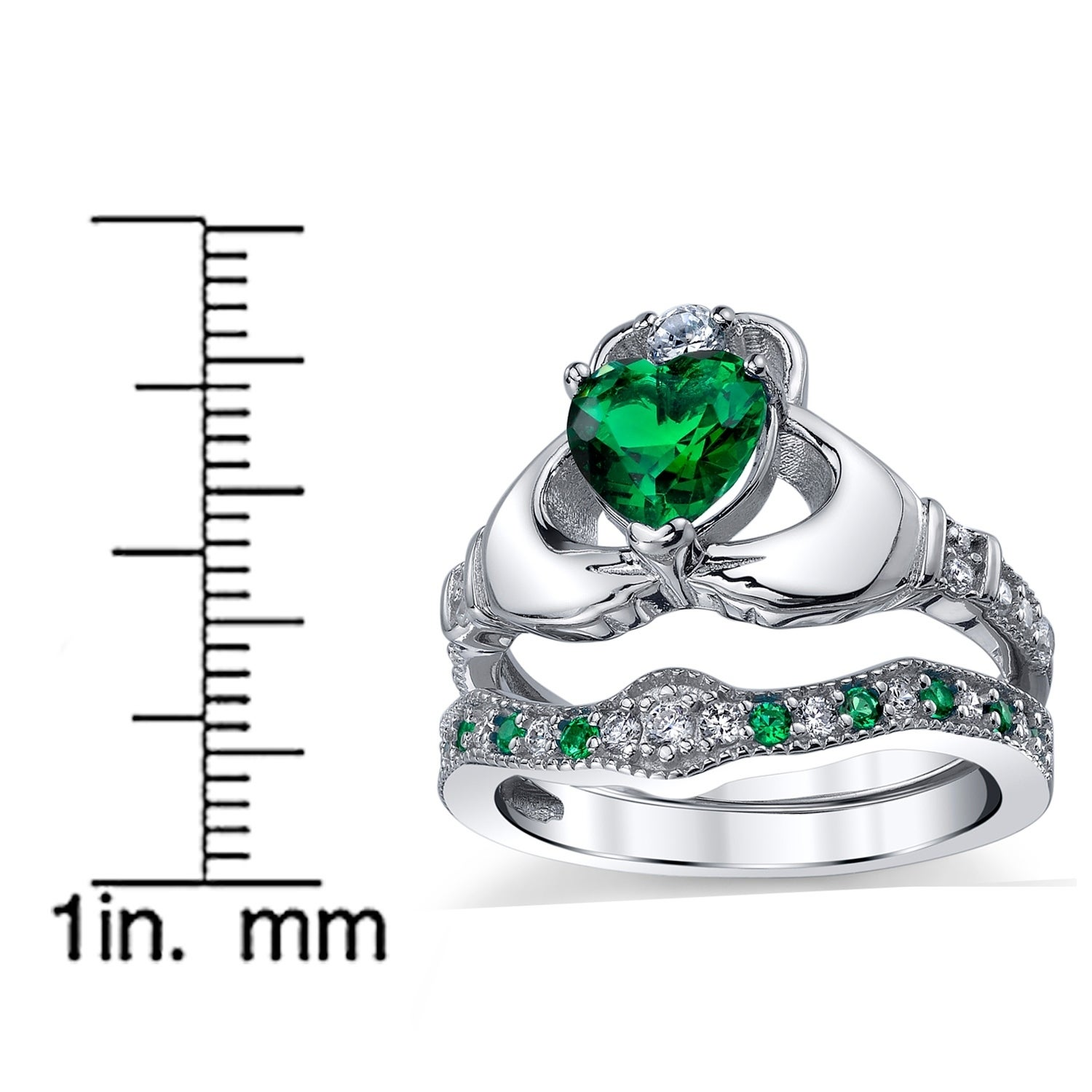 f1183741e65bc Oliveti Sterling Silver Claddagh Engagement Ring Bridal Sets Simulated  Emerald Cubic Zirconia - Green