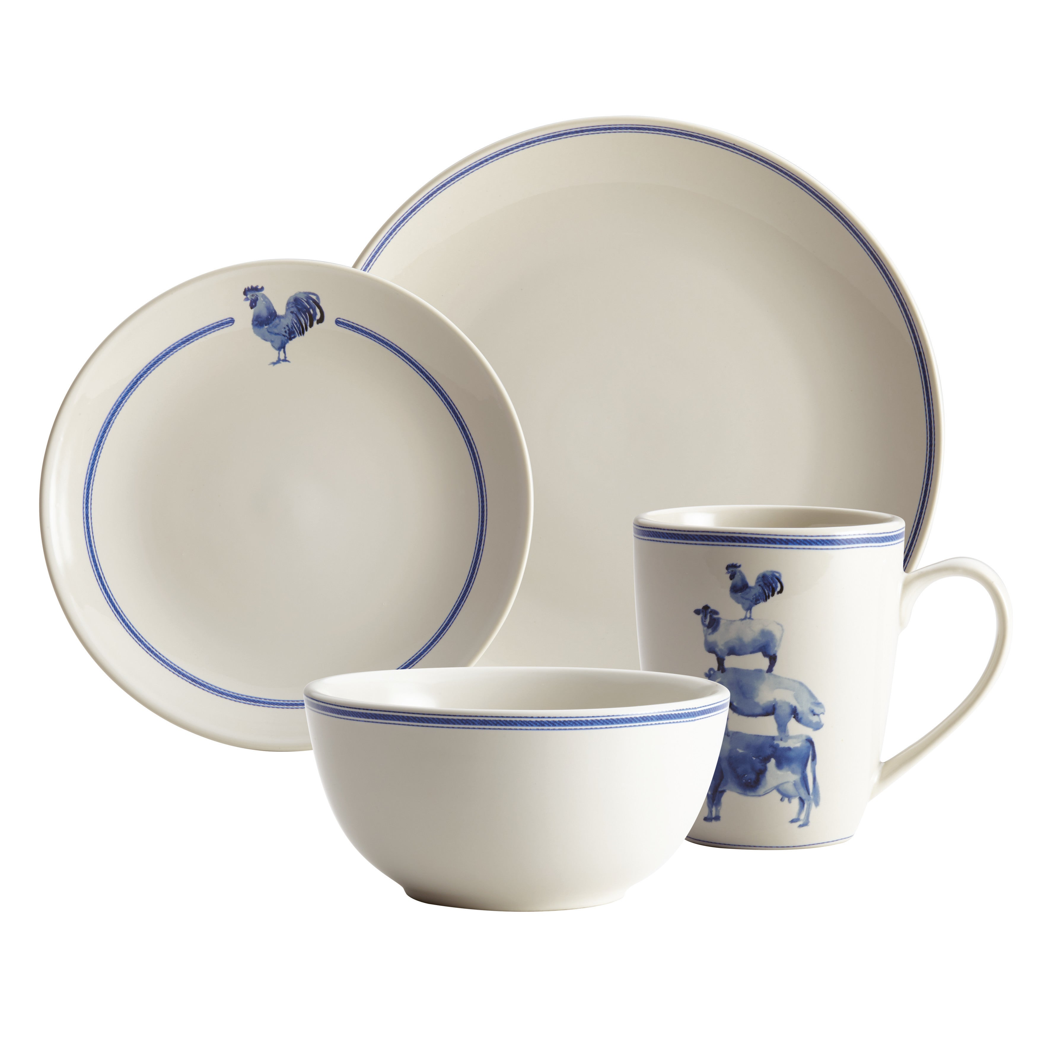 Paula Deen Country Barnyard Stoneware Dinnerware 16-Piece Set - Free Shipping Today - Overstock - 23876598  sc 1 st  Overstock.com & Paula Deen Country Barnyard Stoneware Dinnerware 16-Piece Set - Free ...