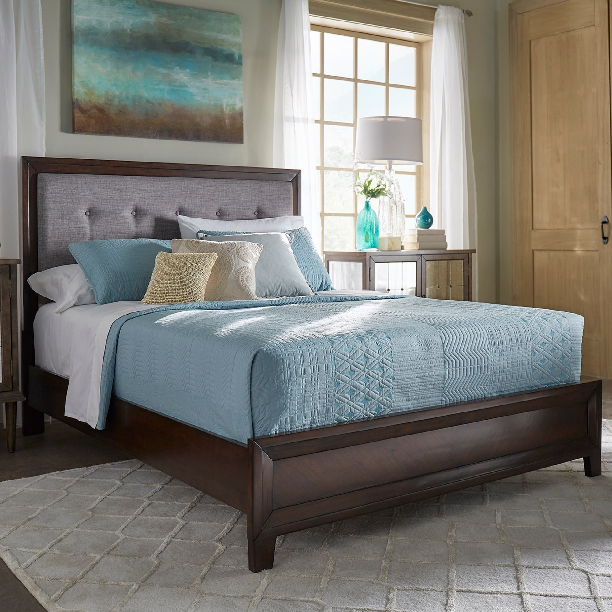 Maxwell Wood and Tufted Linen Bed by iNSPIRE Q Classic - Free Shipping  Today - Overstock.com - 23876894