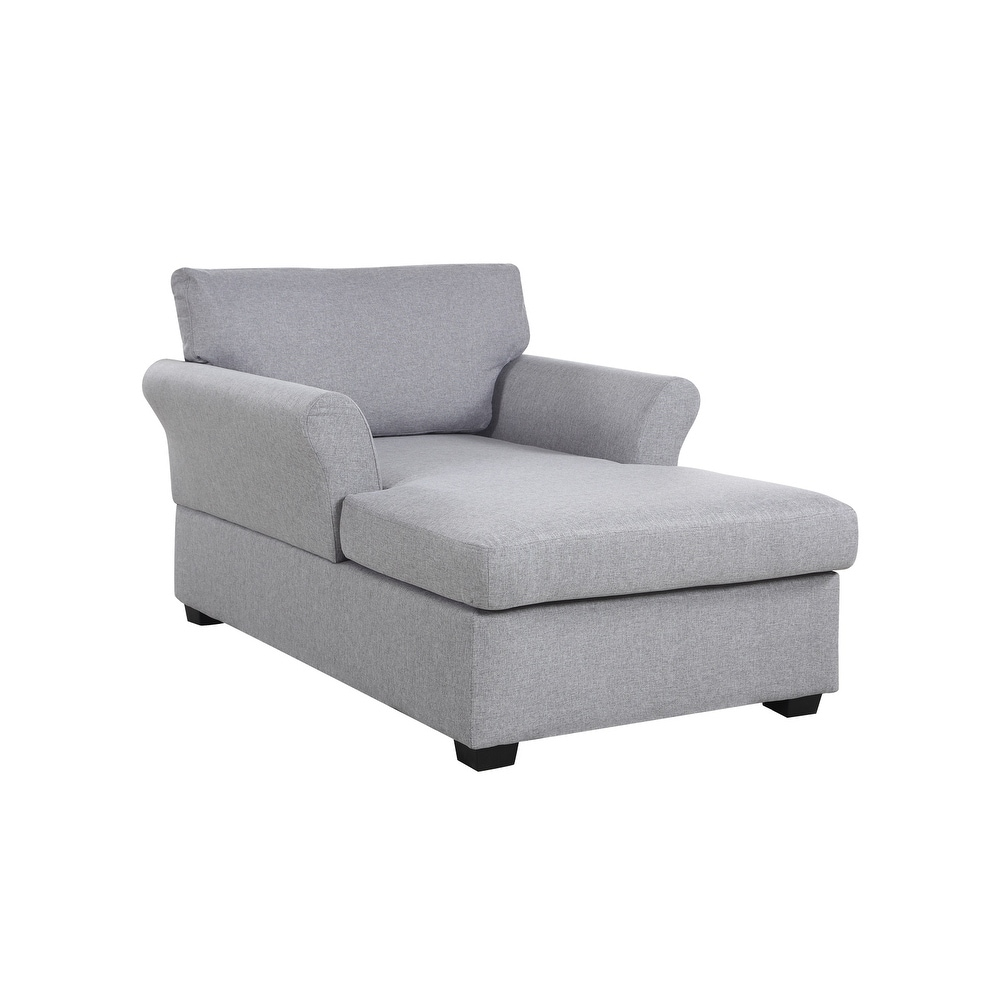 Shop Casual Living Room Chaise Lounge in Classic Linen Upholstery ...
