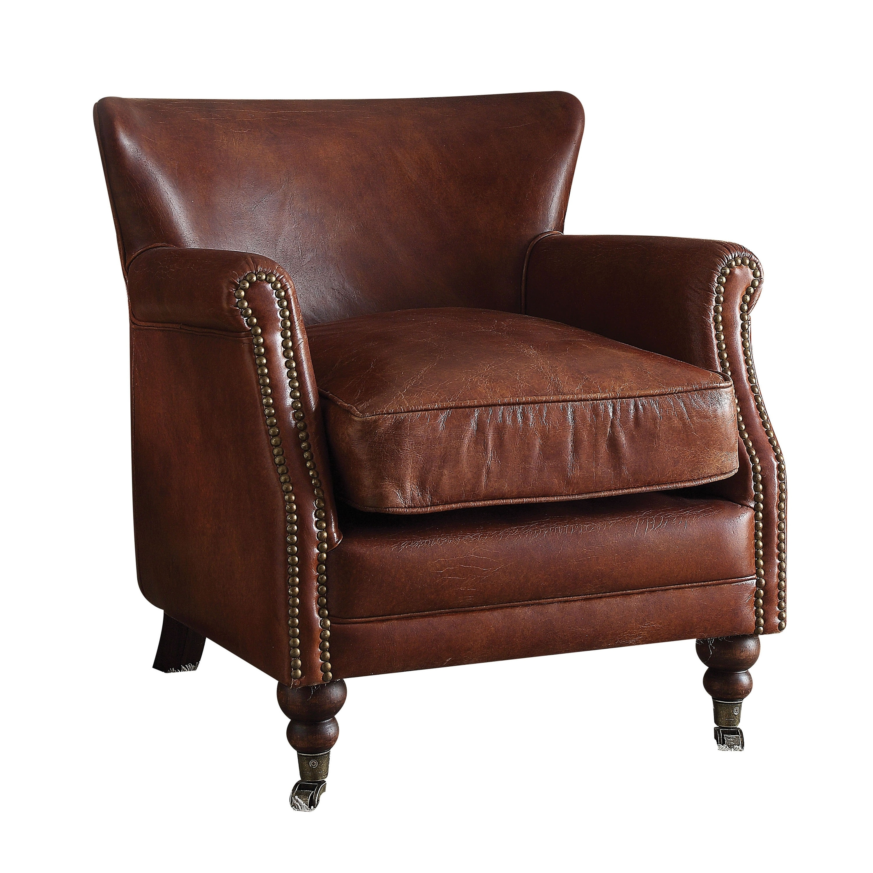 Shop acme furniture leed top grain leather accent chair vintage dark brown free shipping today overstock com 17668762