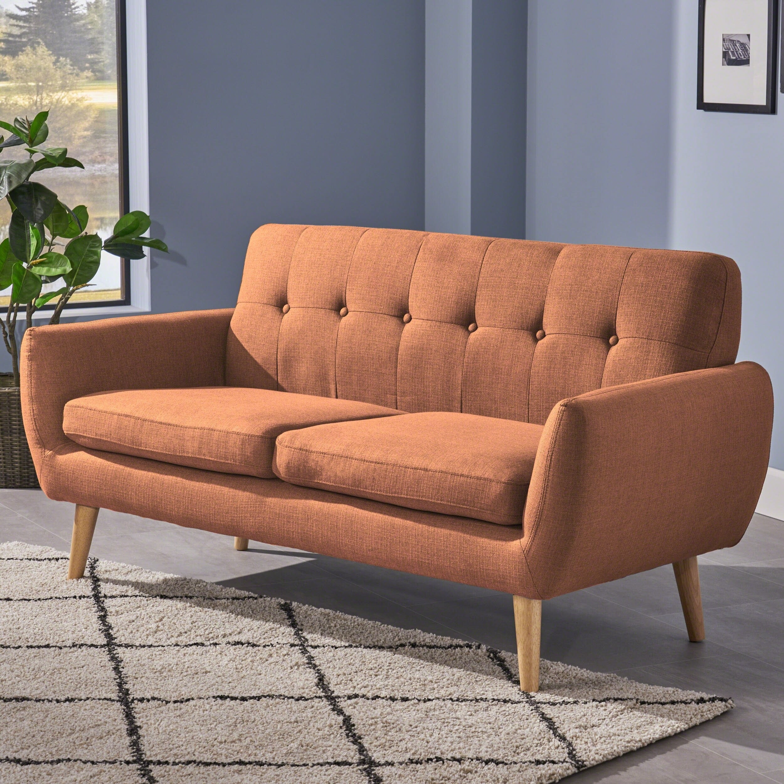 Josephine Mid-Century Modern Tufted Fabric Upholstered Sofa by Christopher  Knight Home