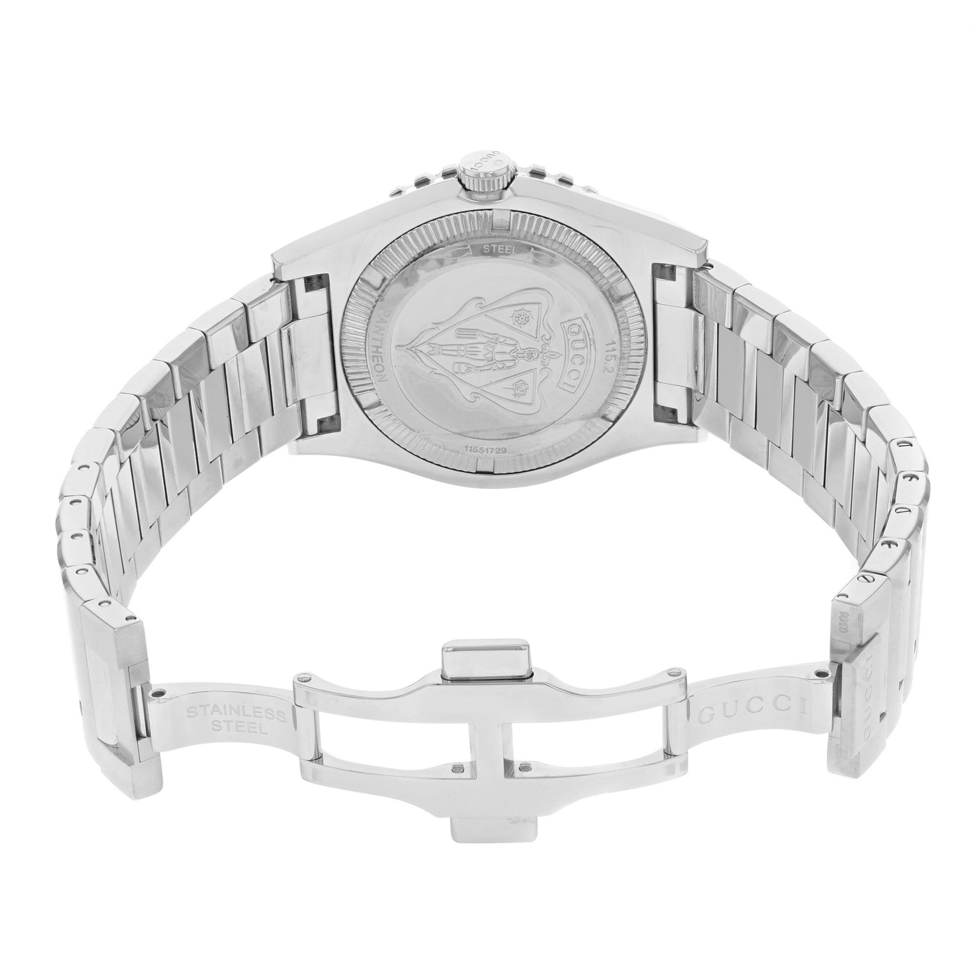 8c52a85fd99 Shop Gucci 115 Pantheon YA115211 Stainless Steel Automatic Men s Watch -  Free Shipping Today - Overstock - 17669139