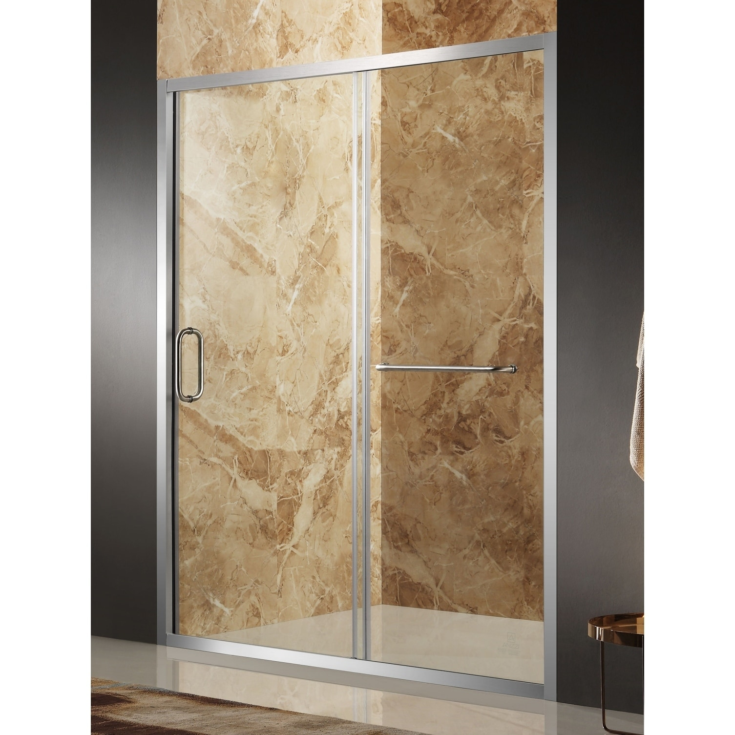 Anzzi Regent 48 X 72 In Framed Sliding Shower Door In Brushed