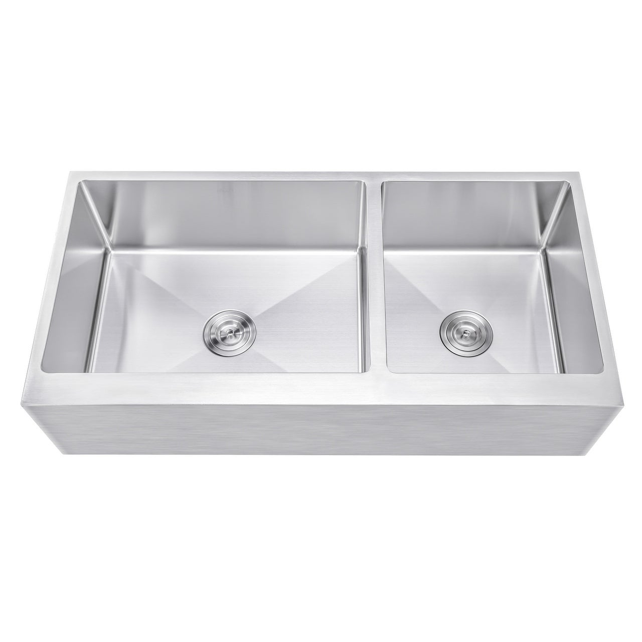 Ariel 42 Inch 60 40 Offset Double Bowl Stainless Steel Farmhouse Sink Flat A Front 15mm Radius Coved Corners