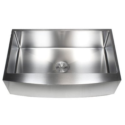 Ariel 36 Inch Farmhouse A Stainless Steel Kitchen Sink 16gauge Curve Front Single Bowl Pack Bonus Accessories Free Shipping Today