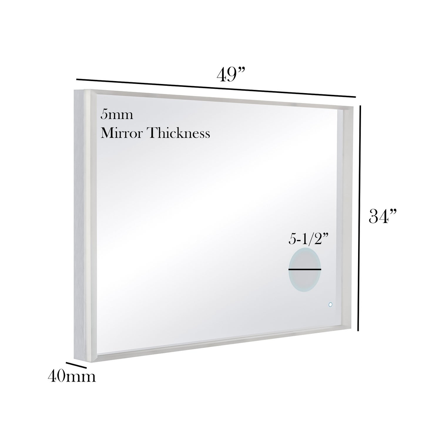 49 X 34 Wall Mount Led Bathroom Mirror Touch On Dual Light With Magnifier Free Shipping Today 17677058
