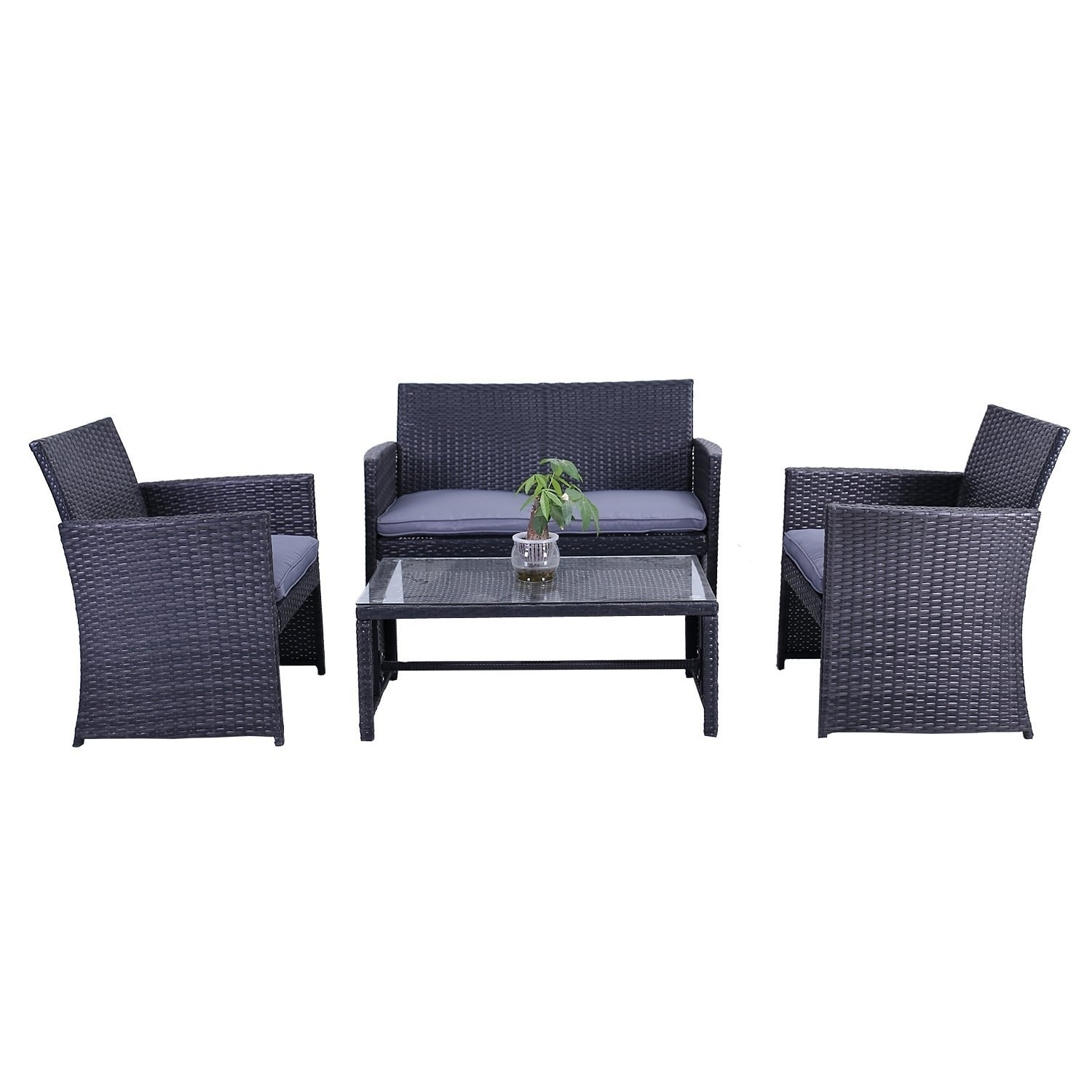 Aleko Indoor Outdoor Manhattan Rattan 4 Pcs Patio Furniture Set On Free Shipping Today 17678897