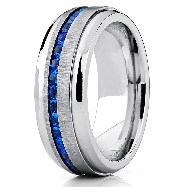 oliveti men s titanium ring eternity wedding band with blue