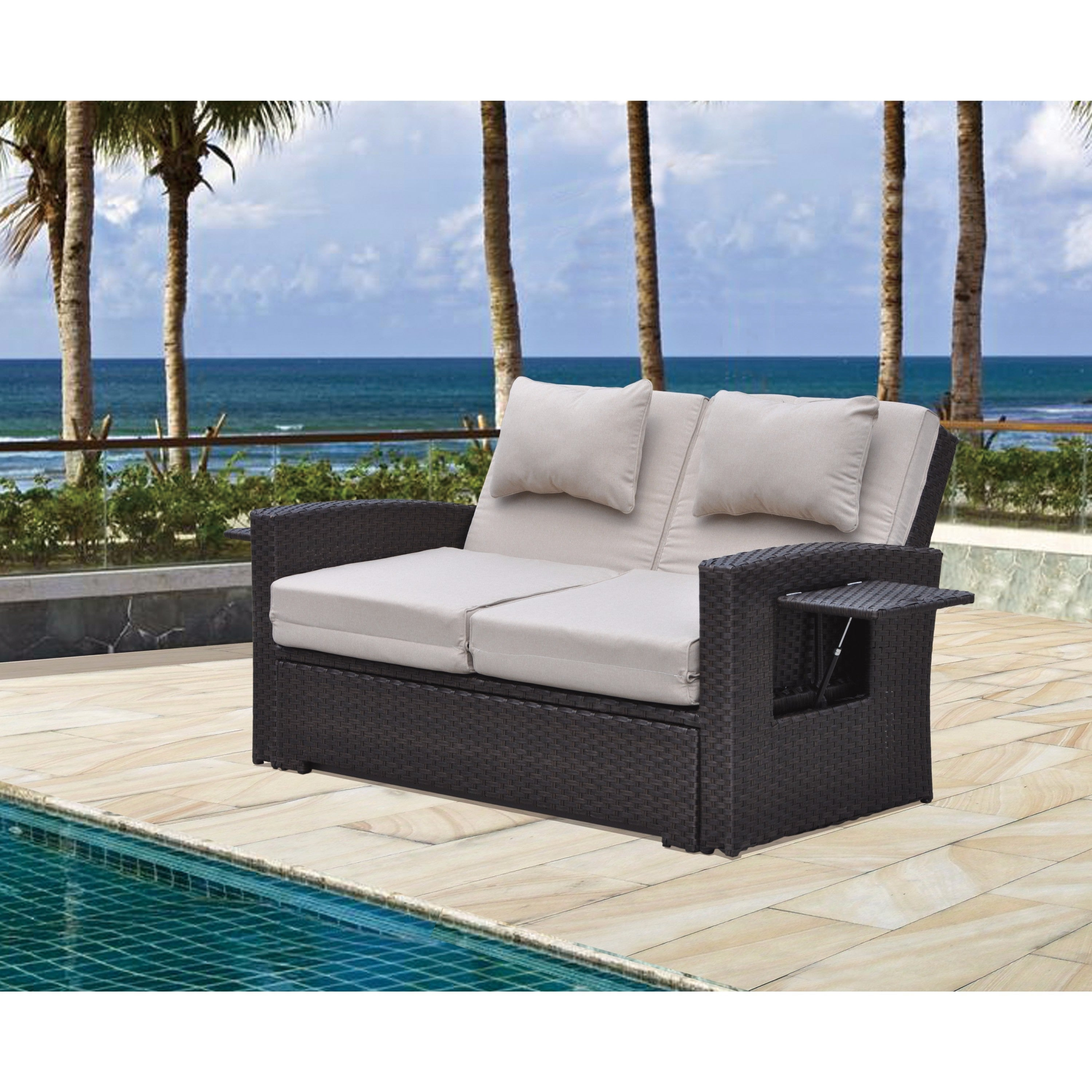 Shop courtyard casual miranda outdoor loveseat to daybed combo w cushions free shipping on orders over 45 overstock 17679820