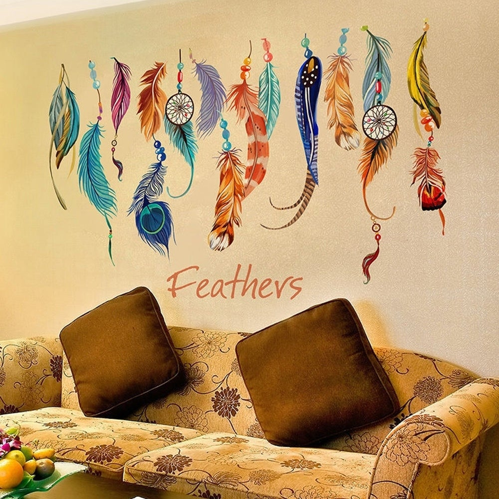 Colorful Lucky Feather Wall Sticker Vinyl Decal Home Decor Mural Art ...