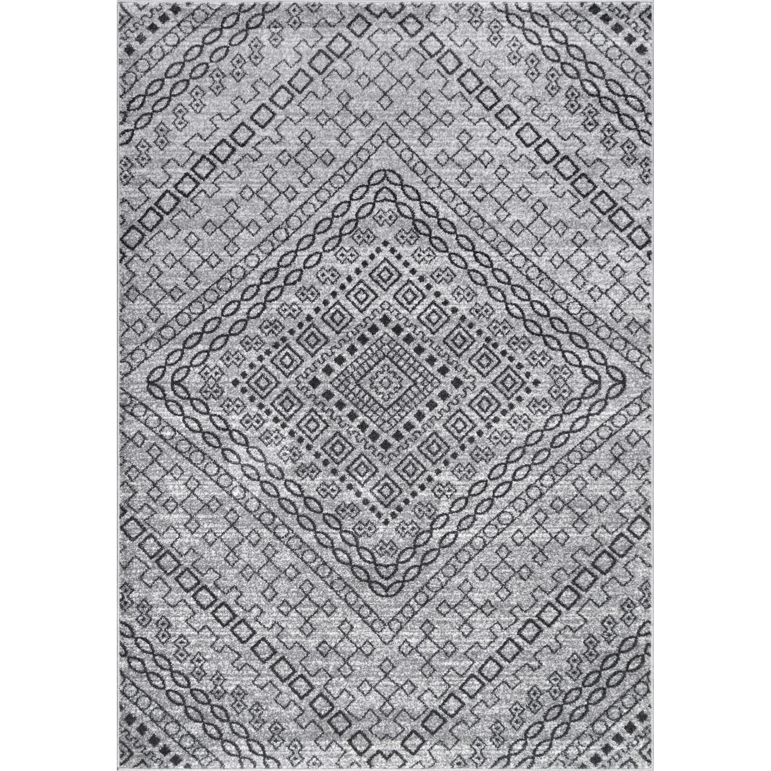 nuLoom Transitional Dark Grey Abstract Diamond Mosaic Frames Rug (7 ...