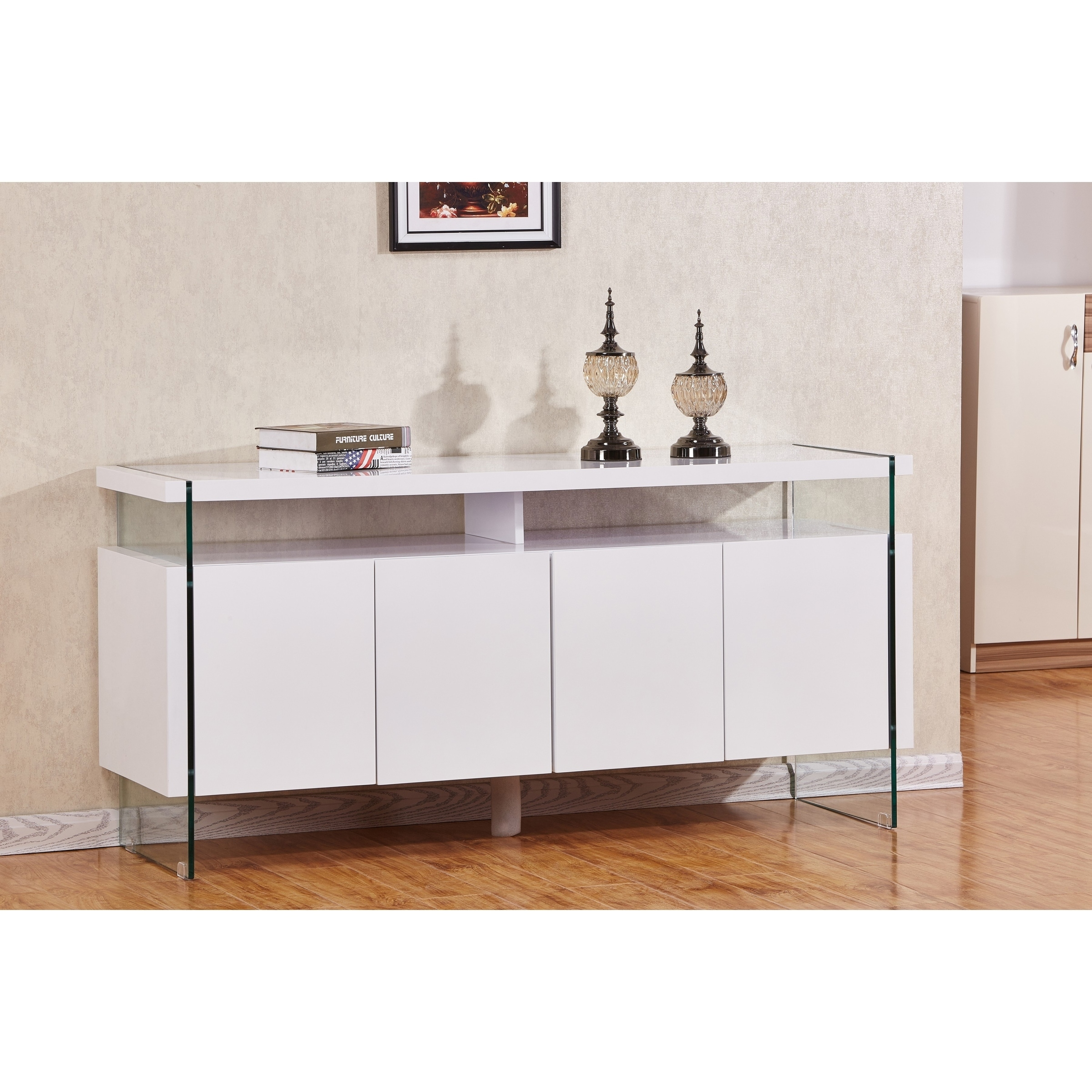 Shop Best Quality Furniture 4 Door Lacquer Buffet Server   Free Shipping  Today   Overstock.com   17695569