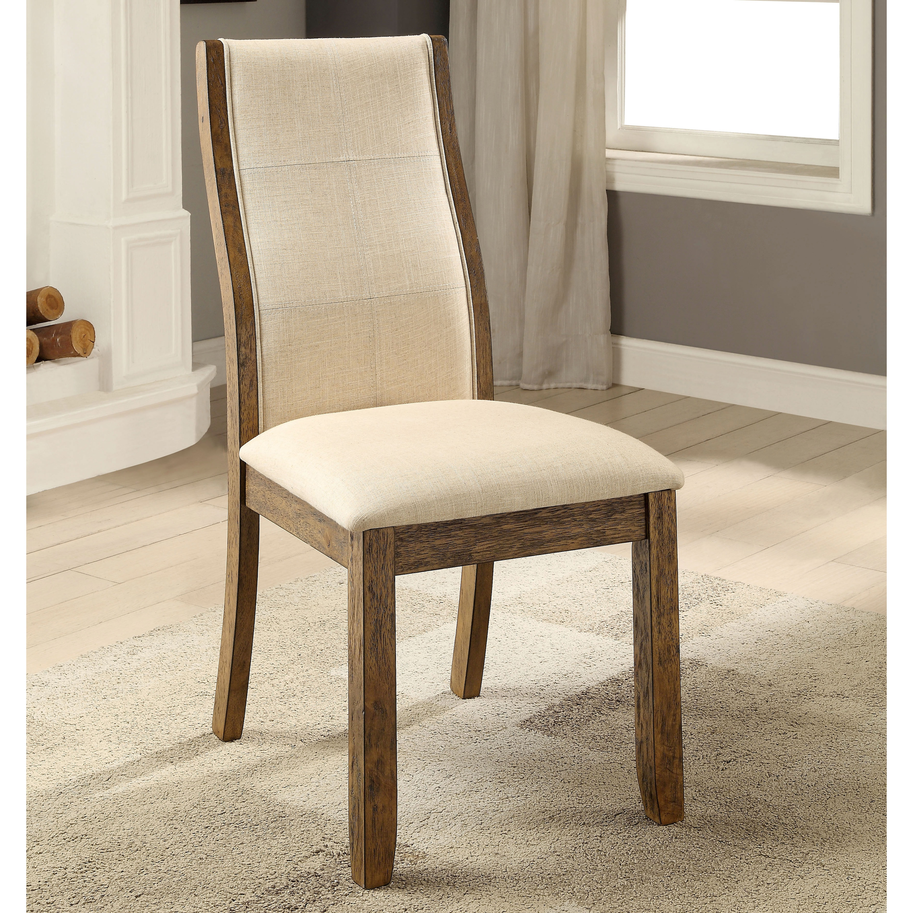Furniture Of America Lenea Contemporary Padded Oak Dining Chair Set 2 19 W X 25 1 D 39 H Free Shipping Today 17697034