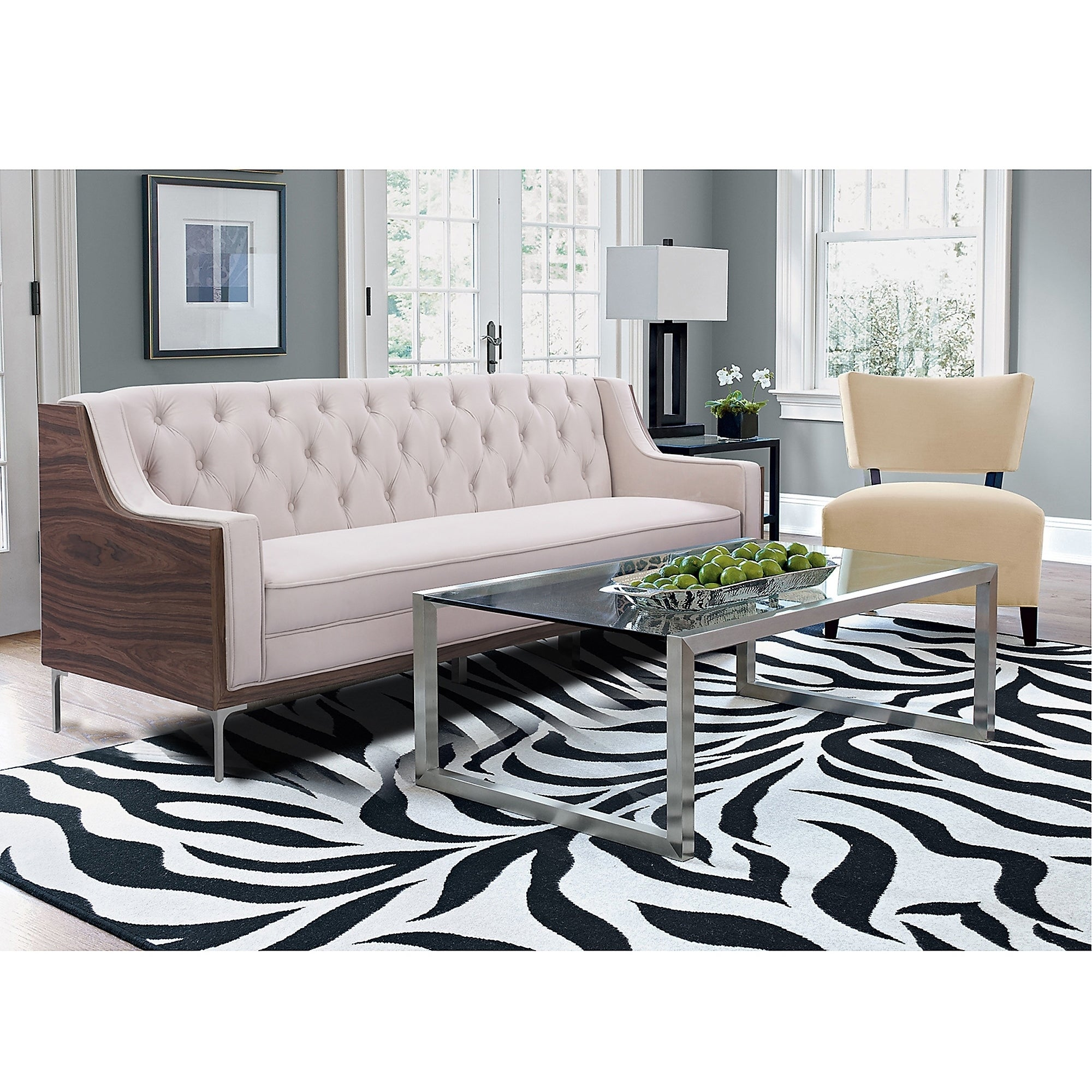 Shop Holly Velvet Button Tufted Sofa with Sloped Arms and Chrome Y ...