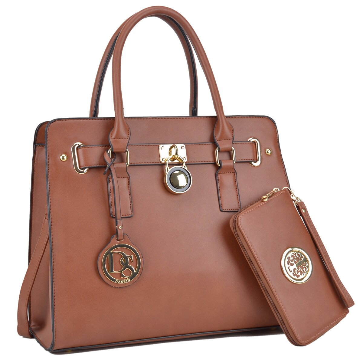 Dasein Large Saffiano Leather Padlock Satchel Handbag With Matching Wallet Free Shipping Today 17698244