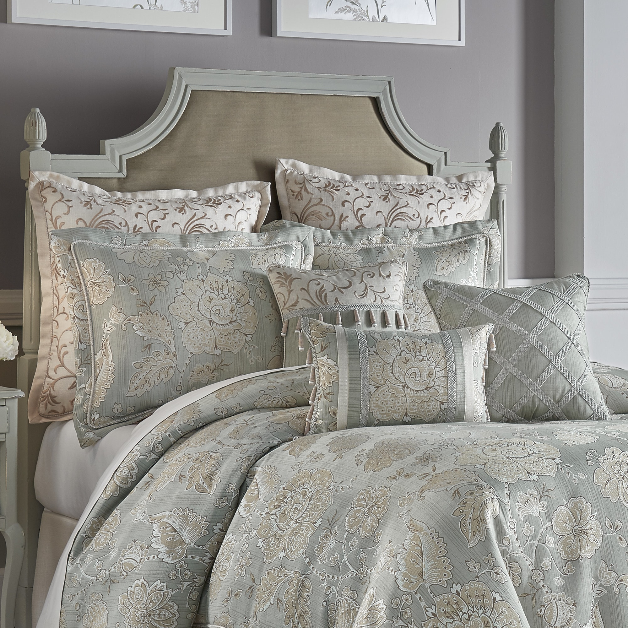 comforter nanshing huntley set linen ebay piece embroidered itm pintuck