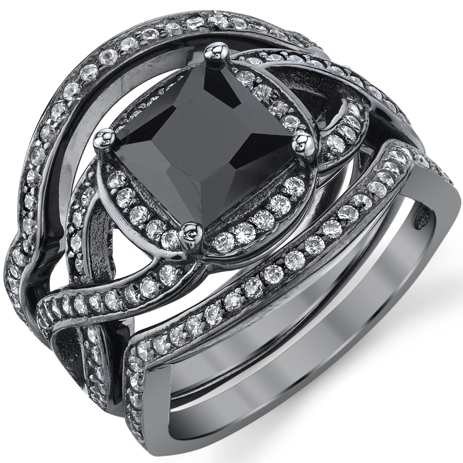 rhodium cz white products twist special wedding fashion rings black ring round halo