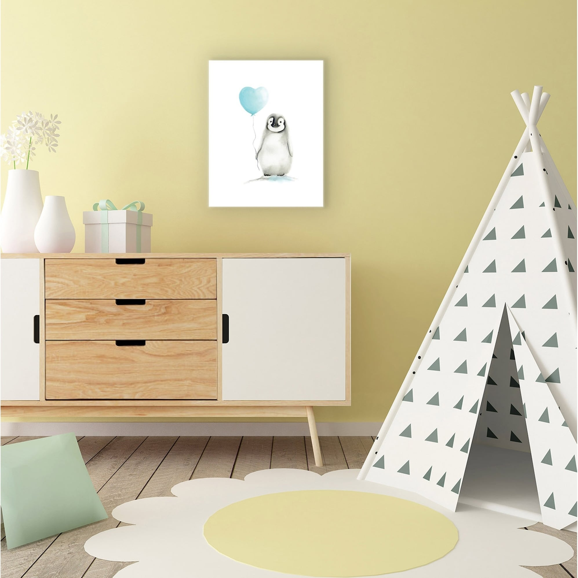 Stupell Industries Baby Penguin W/ Balloon Canvas Wall Art - Free ...